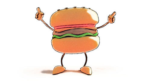 toon burger dance Stock Video Footage