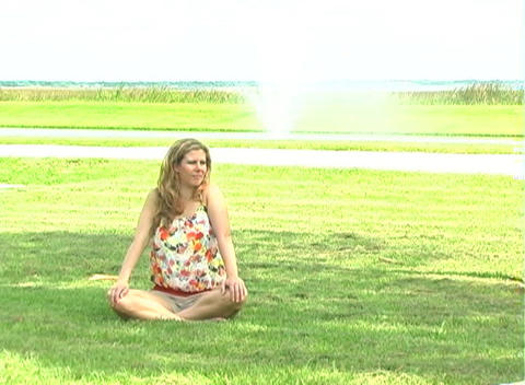 Beautiful Blonde Meditatiing Outdoors-2 Footage