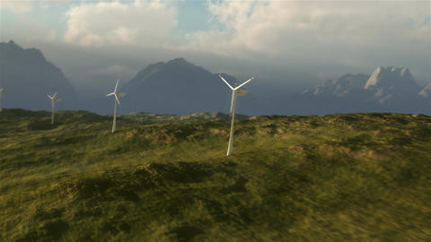 (1114) Wind Turbine Power Grid on Plains with Stormy Wilderness Sunset Animation