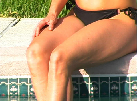 Sexy Blonde with Cell Phone Poolside-2 Stock Video Footage