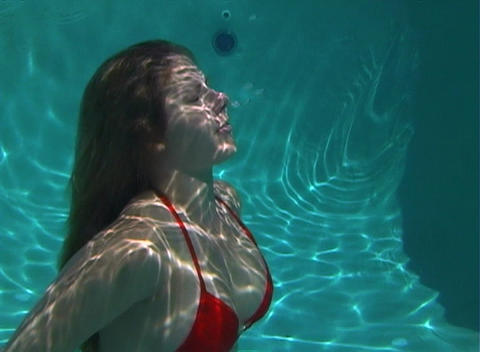 Sexy, Bikini-clad Blonde Underwater-3 Stock Video Footage