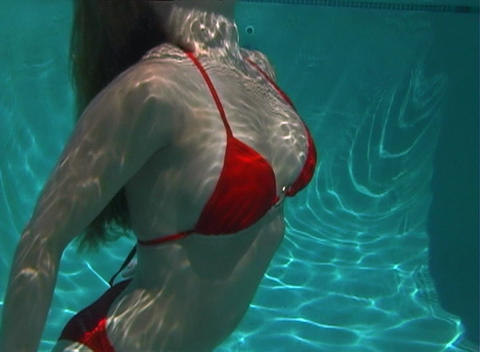 Sexy, Bikini-clad Blonde Underwater-3 Stock Video Footage
