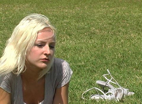 Close-up of a Beautiful Blonde Outdoors Stock Video Footage