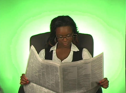 Beautiful Businesswoman Reads a Newspaper Footage