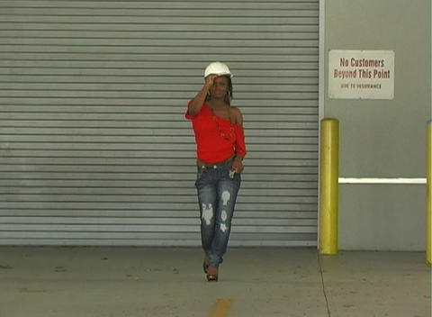 Hot Young Woman with a Hardhat (Full-length) Stock Video Footage