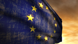 (1116) European Union Flag and Sunset Stock Video Footage