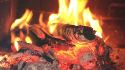 Fireplace full fire and woods Stock Video Footage