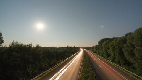 Time lapse highway moon rise 11006 Footage