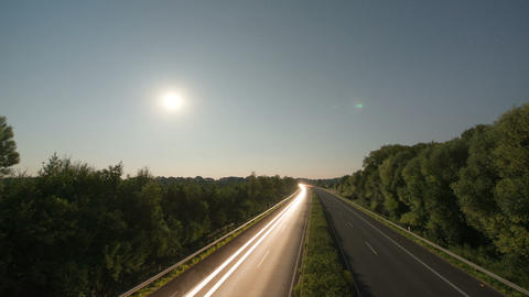 Time lapse highway moon rise 11006 Stock Video Footage