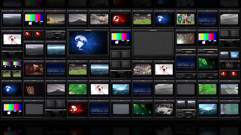 TV wall _051 Stock Video Footage