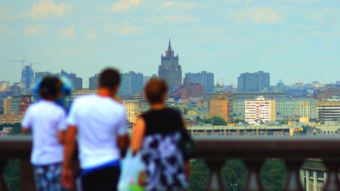 tourists on observation deck Vorobyovy Gory time l Stock Video Footage