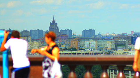 Tourists On Observation Deck Vorobyovy Gory Time L stock footage