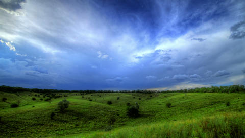 Timelapse HDR. Beautiful Landscape With Storm Clou Footage