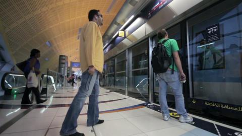 DUBAI - APRIL 25: Dubai Metro With Passengers. Mos Footage