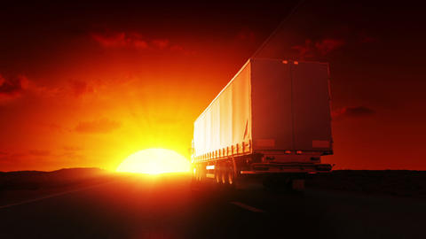 Truck on highway at sunrise Stock Video Footage