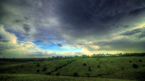 4k. Timelapse HDR. Beautiful Landscape With Storm  Footage