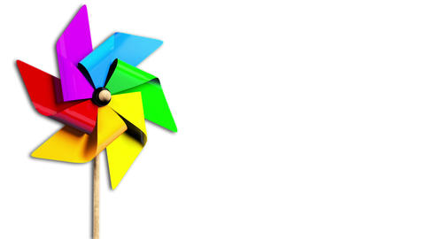 Rainbow Spinning Pinwheel in the Wind with Alpha Stock Video Footage
