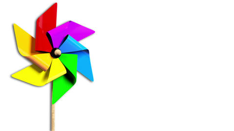 Rainbow Spinning Pinwheel in the Wind with Alpha Animation
