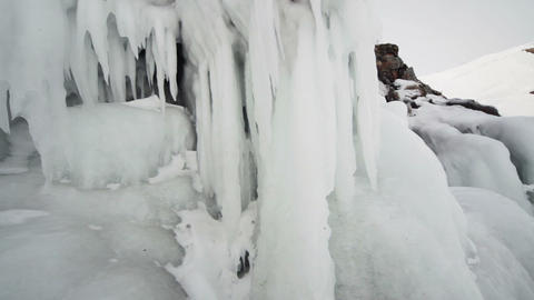 Coast into ice icicles Footage