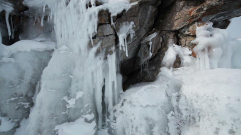 Coast into ice icicles Stock Video Footage