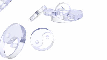 transparent glass yin-yang symbol Stock Video Footage