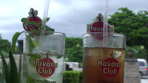 Mojito and Cubalibre glass Stock Video Footage