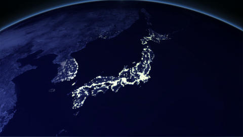 Night Earth Japan Stock Video Footage