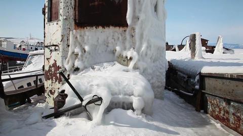 Frozen ship on Baikal lake Footage