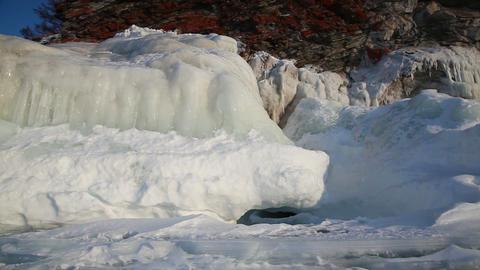 Ice coastline of Baikal lake Stock Video Footage