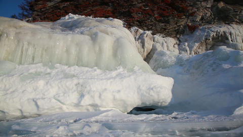 Ice coastline of Baikal lake Stock Video Footage