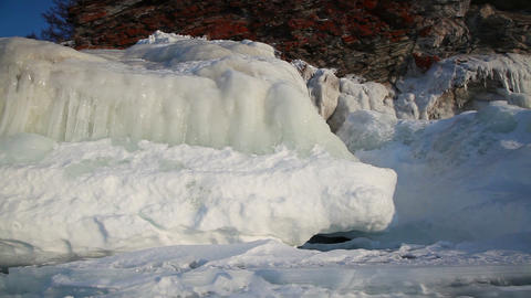 Ice coastline of Baikal lake Footage
