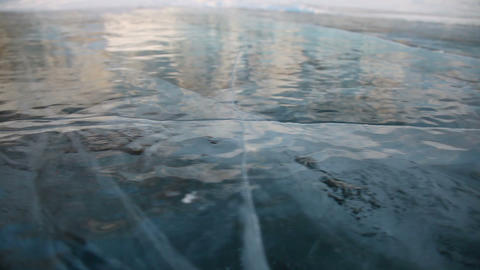 Ice of Baikal lake Stock Video Footage