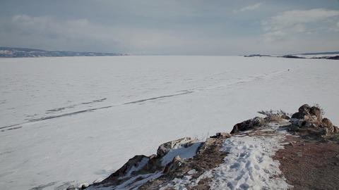 Coastline of Olkhon island on Baikal lake Stock Video Footage