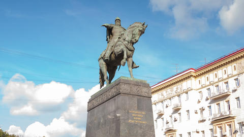 Monument to Yuri Dolgorukiy in Moscow city hyperla Footage
