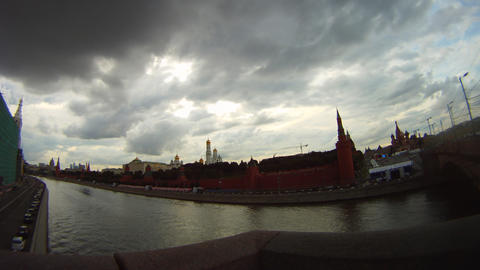 cloudy Moscow kremlin embankment time lapse Stock Video Footage