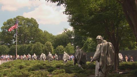 Korean War Veterans Memorial Stock Video Footage
