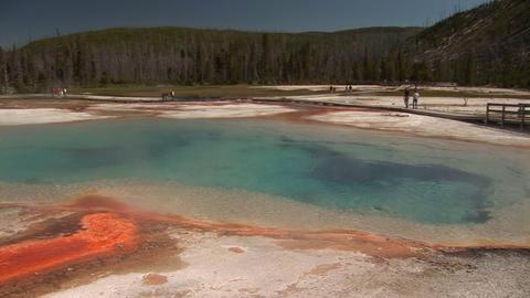 Rainbow Pool, Black Sand Basin in Yellowstone National Park Stock Video Footage