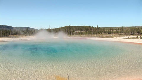 Rainbow Pool, Black Sand Basin in Yellowstone National Park Footage