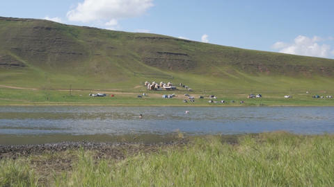 Khakassia. On the shore of the Tus Lake (pan) Stock Video Footage