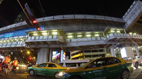 Bangkok night traffic timelapse Stock Video Footage