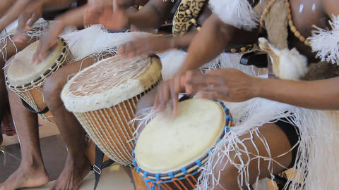 Playing on ethnic drums Footage