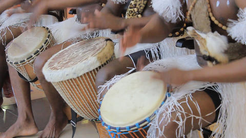 Playing on ethnic drums Stock Video Footage
