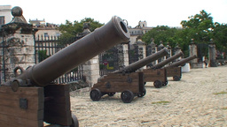 Havana Castillo de la Real Fuerza Cannons Stock Video Footage
