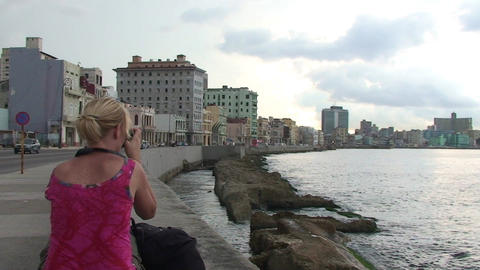 Malecón boulevard seaside panshot Stock Video Footage