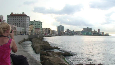 Malecón boulevard seaside panshot Footage