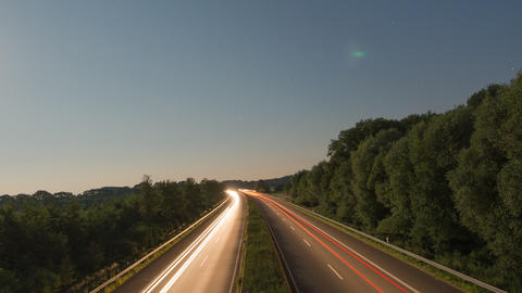 Time lapse highway moon rise zoom pan 11008 Footage