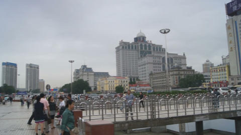Harbin Railway Station panoramic view Stock Video Footage