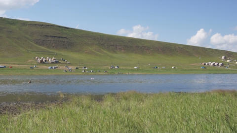 Khakassia. On the shore of Tus Lake (pan right) Stock Video Footage