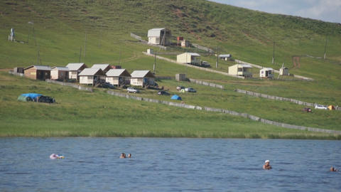 Khakassia. The camp site on the shore of Lake Tus Footage