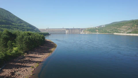 Krasnoyarsk Dam on the River Yenisei 01 Stock Video Footage